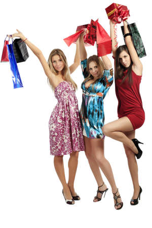 Xmas  background: girlfriends with presents Stock Photo - 3996680