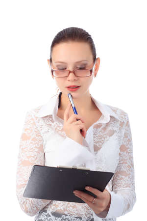 Business background: handsome businesswoman in a work process. Stock Photo - 3996639