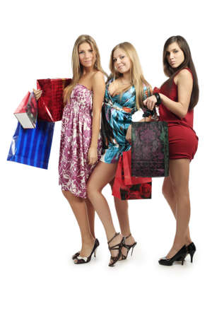 Xmas  background: girlfriends with presents Stock Photo - 4038958