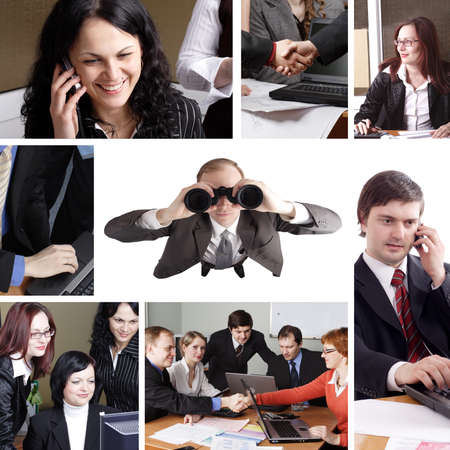 Group of business people working together in the office. Image-grid of business photos. Stock Photo - 4126332