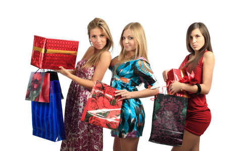 Xmas  background: girlfriends with presents photo