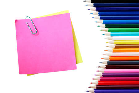 Writing materials: coloured pencils background. photo