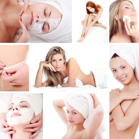 Portrait of a styled professional models.  Image-grid of spa photos.  Stock Photo - 4130986