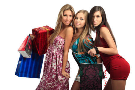 Shopping  background: girlfriends with presents Stock Photo - 4171564