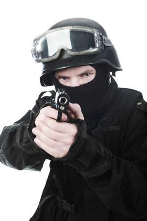 Shot of a soldier holding gun. photo