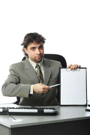 Business background: handsome businessman in a work process. Stock Photo - 4196670