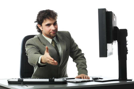 Business background: handsome businessman in a work process. Stock Photo - 4196665