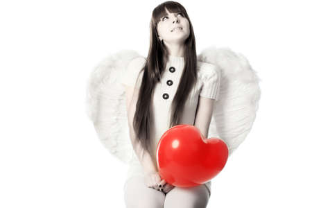 Portrait of a styled professional model: St. Valentine day, angel, love, Stock Photo - 4196562