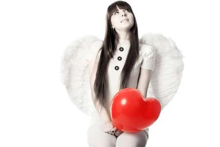 Retrato de un modelo de estilo profesional: d�a de San Valent�n, �ngel, el amor, Foto de archivo