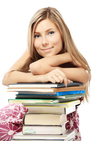 homestudy: Portrait of a pretty student. Shot in a studio. Stock Photo