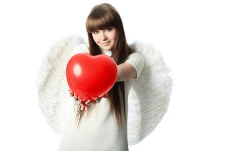 st valentine: Retrato de un modelo de estilo profesional: d�a de San Valent�n, �ngel, el amor, Foto de archivo