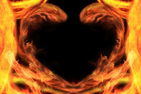 flamy: Flamy heart on a black background. Stock Photo