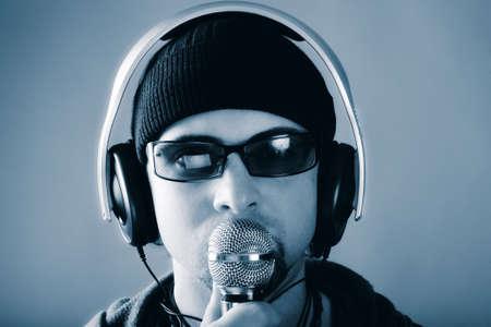 Handsome man in headphones enjoying the music Stock Photo - 4369936