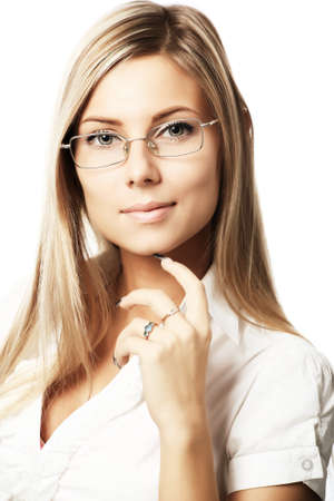 Business background: beautiful businesswoman in a work process. photo