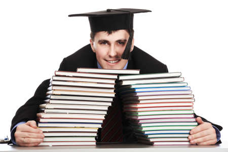 Portrait of a young man in an academic gown. Educational theme. Stock Photo - 4500412