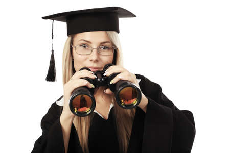 Portrait of a young woman in an academic gown, future trends. Educational theme. photo