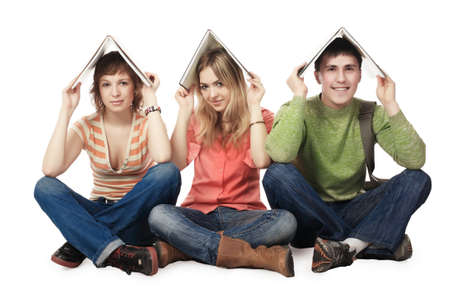 homestudy: Educational theme: group of students studing together.
