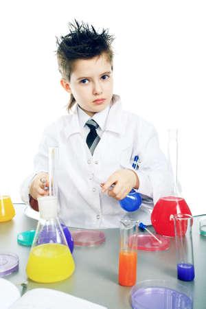 chemist's: Education background: Funny Teen. Shot in studio. Stock Photo