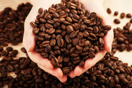 Coffee background: Close-up of a beans, cup, mill  photo