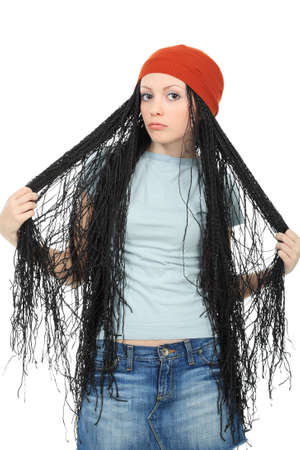 Portrait of beautiful girl with great dreadlocks. Stock Photo - 4662902