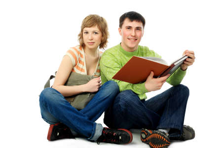 Couple of students. Theme: education, friends, relations. Stock Photo - 4703115