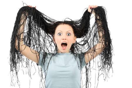 dreadlocks: Retrato de la hermosa chica con gran rastas. Foto de archivo