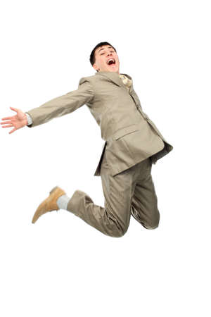 achiever: Shot of a jumping young man. Business, success, life events.