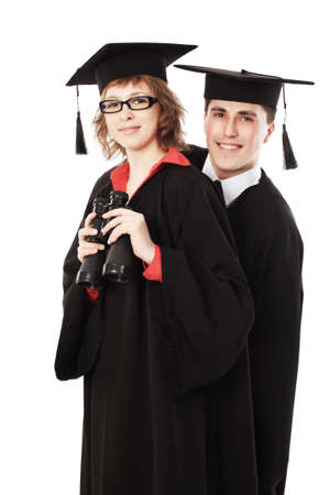 Portrait of a young men in an academic gown. Educational theme. photo