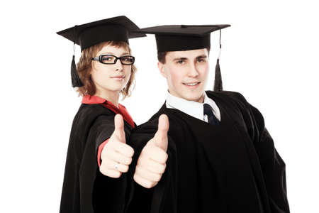 Portrait of young men in an academic gown. Educational theme. photo