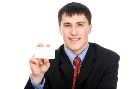 businesscard: Business theme: handsome businessman with businesscard.