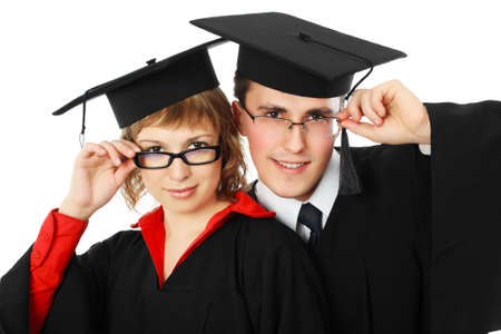 magistrates: Portrait of young men in an academic gown. Educational theme. Stock Photo