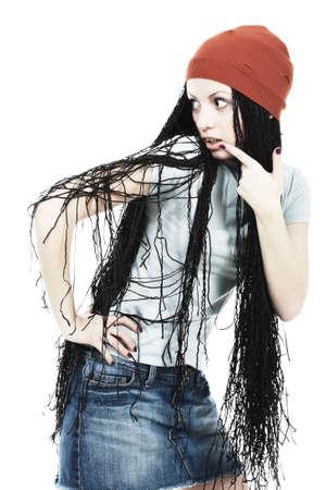 dreadlock: Portrait of beautiful girl with great dreadlocks.