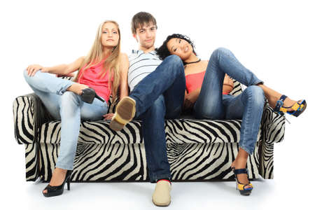 Group of a stylish young people. Fashion, beauty, holidays. Stock Photo - 4899586
