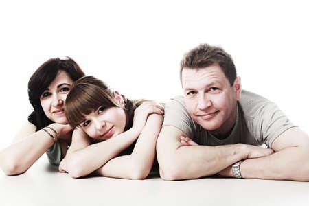 papa y mama: Feliz la familia: padres con su hija mayor de edad.