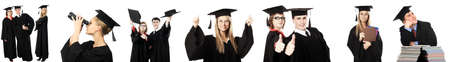 graduate student: Portrait of young people in an academic gown. Educational theme. Stock Photo