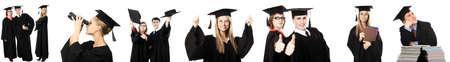 absolwent: Portret młodych ludzi w akademickim suknia. Edukacyjne tematu.