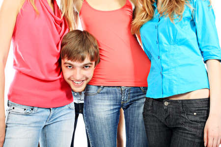 Portrait of a funny man with his girlfriends. Stock Photo - 4975561
