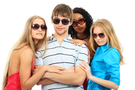 Group of a stylish young people. Fashion, beauty, holidays. Stock Photo - 4900233