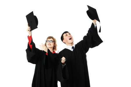 magistrates: Portrait of young people in an academic gown. Educational theme. Stock Photo
