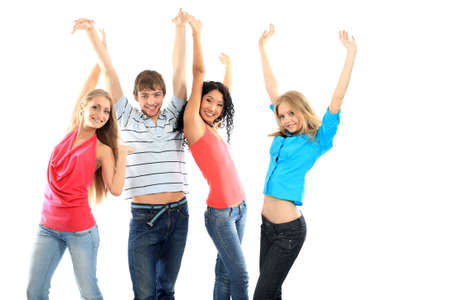 Group of a modern young people. Fashion, education, holidays. photo