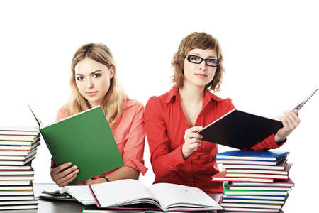 homestudy: Group of students. Theme: education, friends, relations.  Stock Photo