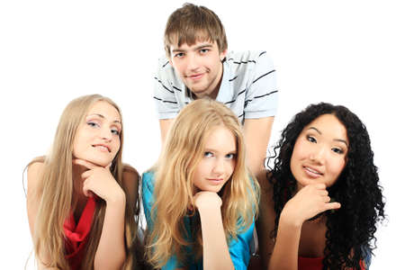 Group of a cheerful young people. Education, holidays. Stock Photo - 4975698