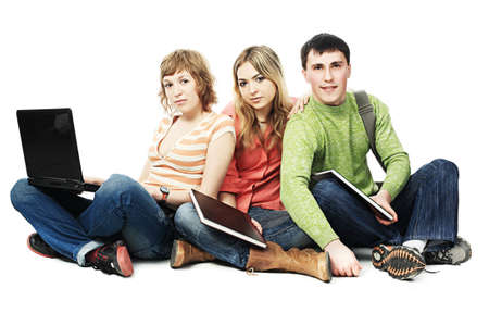 studing: Educational theme: group of students studing together.