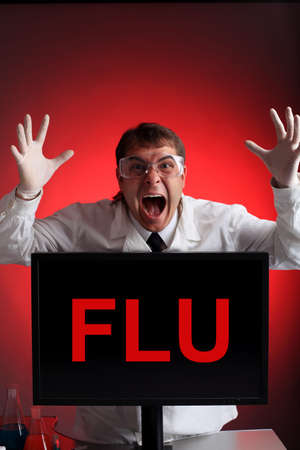 h1n1 vaccine: Medical theme: a doctor with threatening emotions. Stock Photo