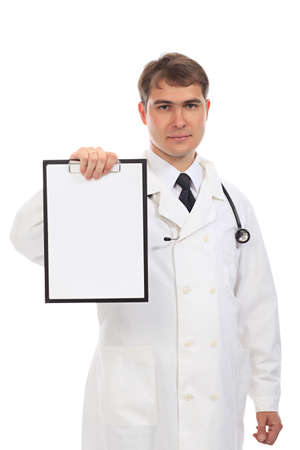 Medical theme: serious doctor holding a clipboard. Stock Photo - 5035260