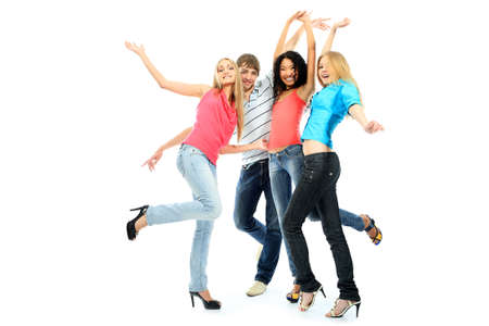 youth group: Group of a cheerful young people. Education, holidays.