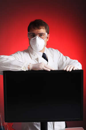 ah1n1: Medical theme: a doctor with threatening emotions. Stock Photo