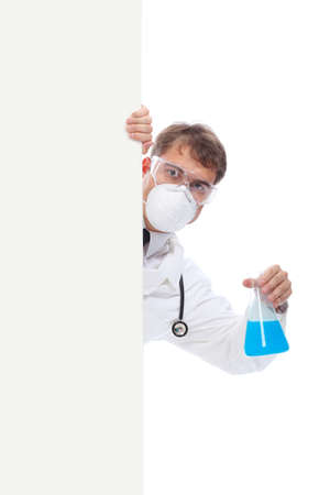 h1n1: Medical theme: serious doctor looking out a billboard.