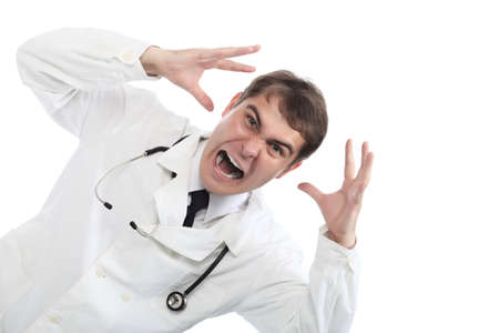 threatening: Medical theme: a doctor with threatening emotions. Stock Photo