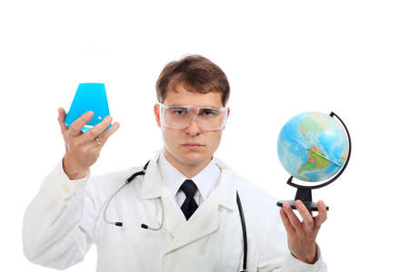 Medical theme: serious doctor working in a laboratory. photo